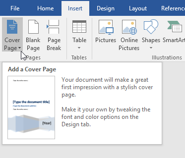add cover page word