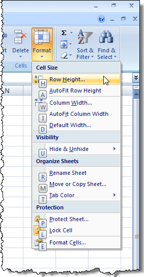 Format drop-down menu